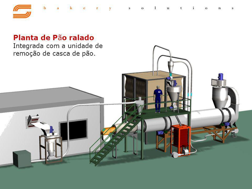 Planta de Pão ralado Integrada com a unidade de remoção de casca de pão.