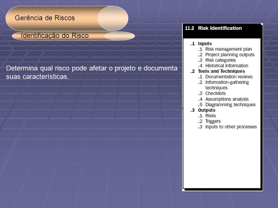 Gerência de Riscos Identificação do Risco. Determina qual risco pode afetar o projeto e documenta.