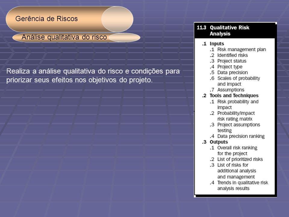 Gerência de Riscos Análise qualitativa do risco. Realiza a análise qualitativa do risco e condições para.
