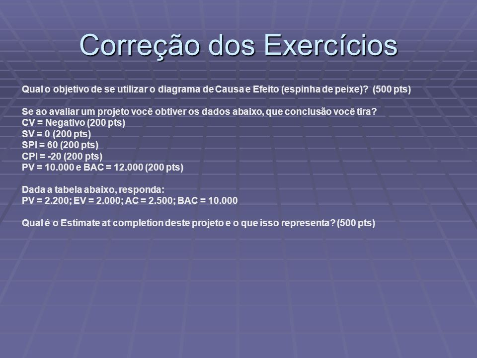 Correção dos Exercícios