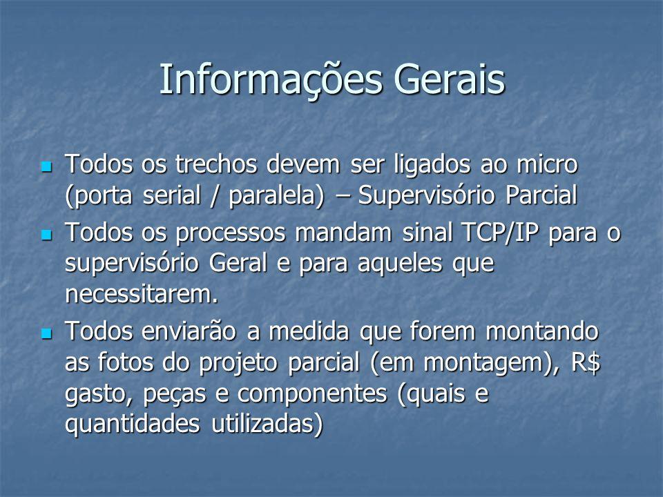 Informações Gerais Todos os trechos devem ser ligados ao micro (porta serial / paralela) – Supervisório Parcial.