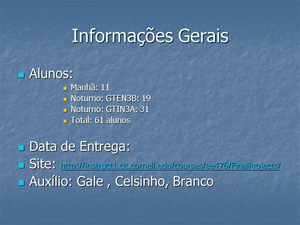 Informações Gerais Alunos: Data de Entrega: