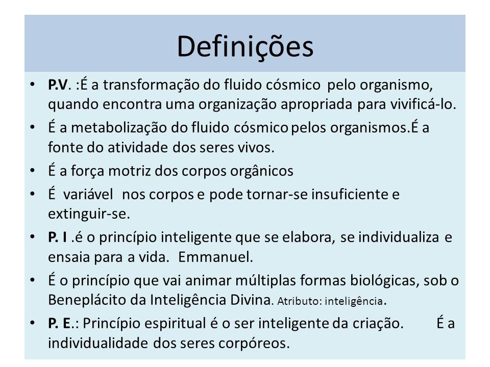 Definições P.V. :É a transformação do fluido cósmico pelo organismo, quando encontra uma organização apropriada para vivificá-lo.