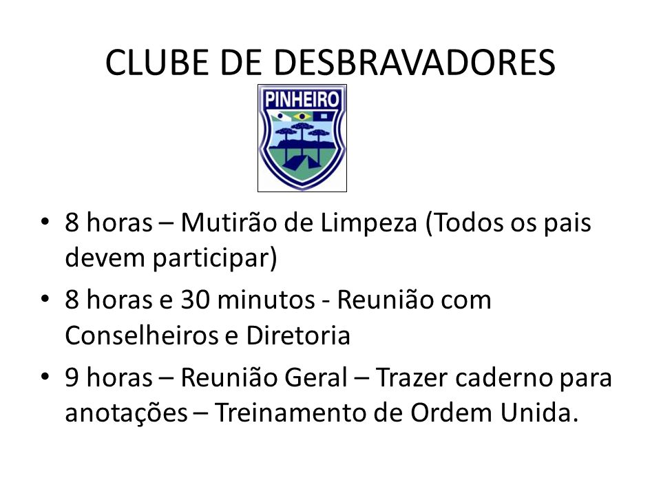 CLUBE DE DESBRAVADORES