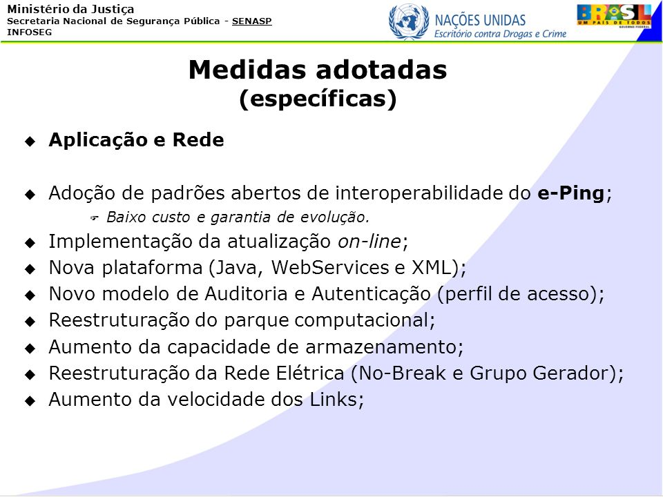 Medidas adotadas (específicas) Aplicação e Rede