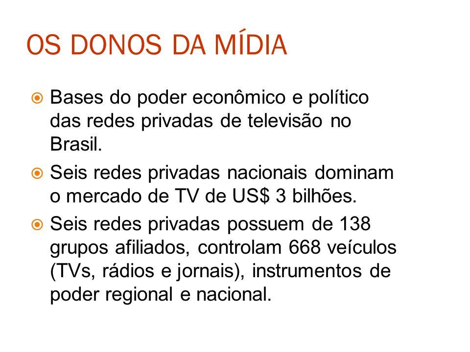 OS DONOS DA MÍDIA Bases do poder econômico e político das redes privadas de televisão no Brasil.