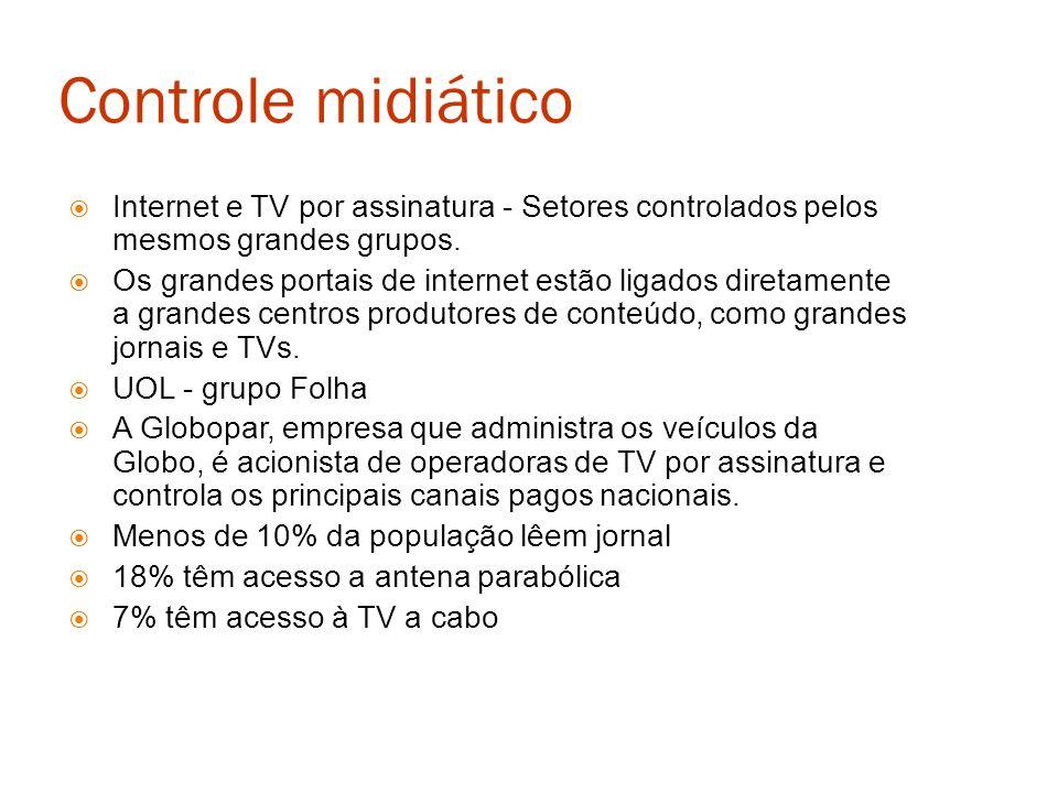 Controle midiático Internet e TV por assinatura - Setores controlados pelos mesmos grandes grupos.