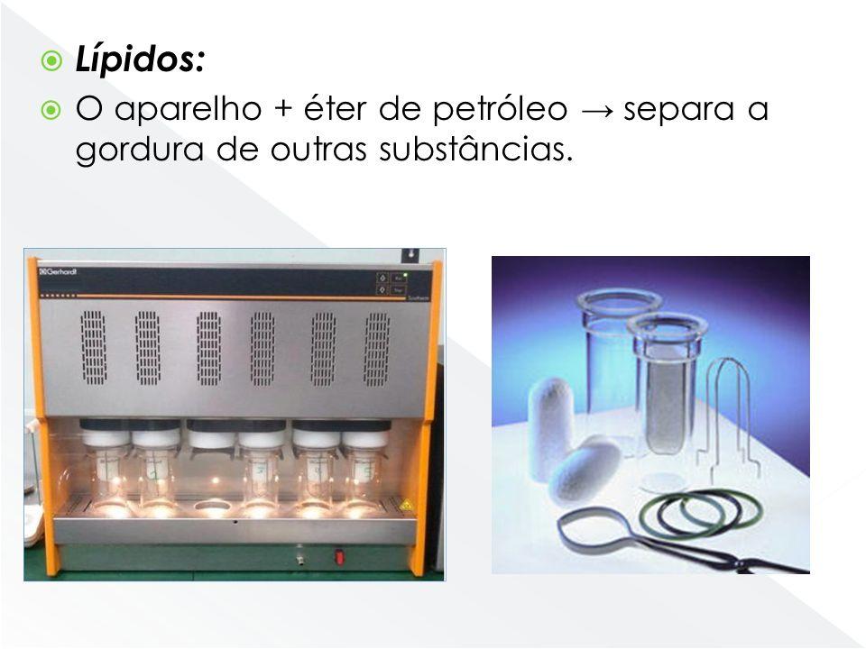 Lípidos: O aparelho + éter de petróleo → separa a gordura de outras substâncias. hidrólise-Pesar a amostra 10 g.