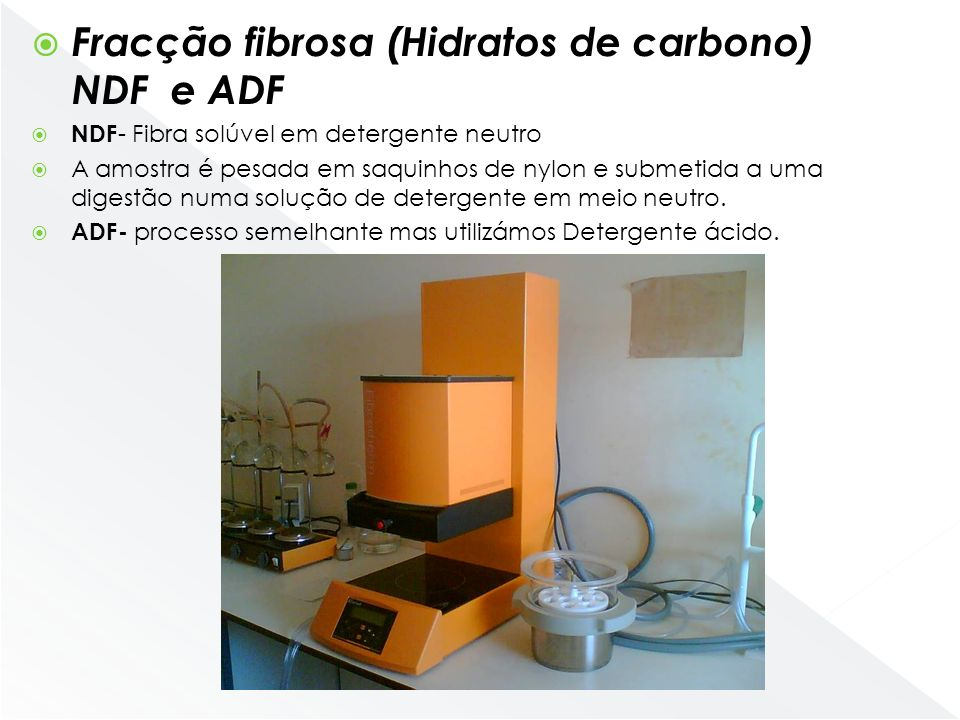 Fracção fibrosa (Hidratos de carbono) NDF e ADF