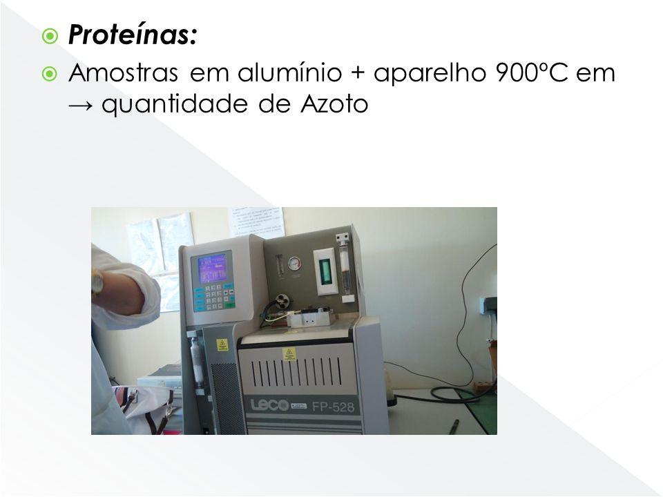 Proteínas: Amostras em alumínio + aparelho 900ºC em → quantidade de Azoto. Digitamos o peso da amostra no ecrã e o numero de azoto que queremos.