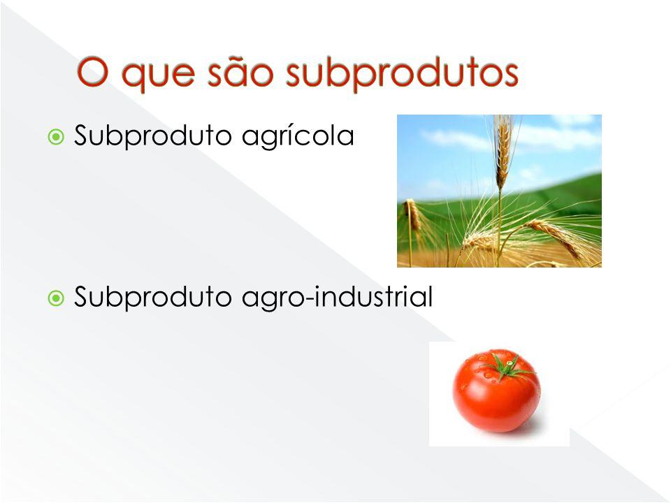 O que são subprodutos Subproduto agrícola Subproduto agro-industrial