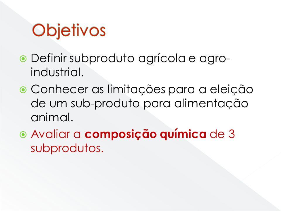 Objetivos Definir subproduto agrícola e agro-industrial.