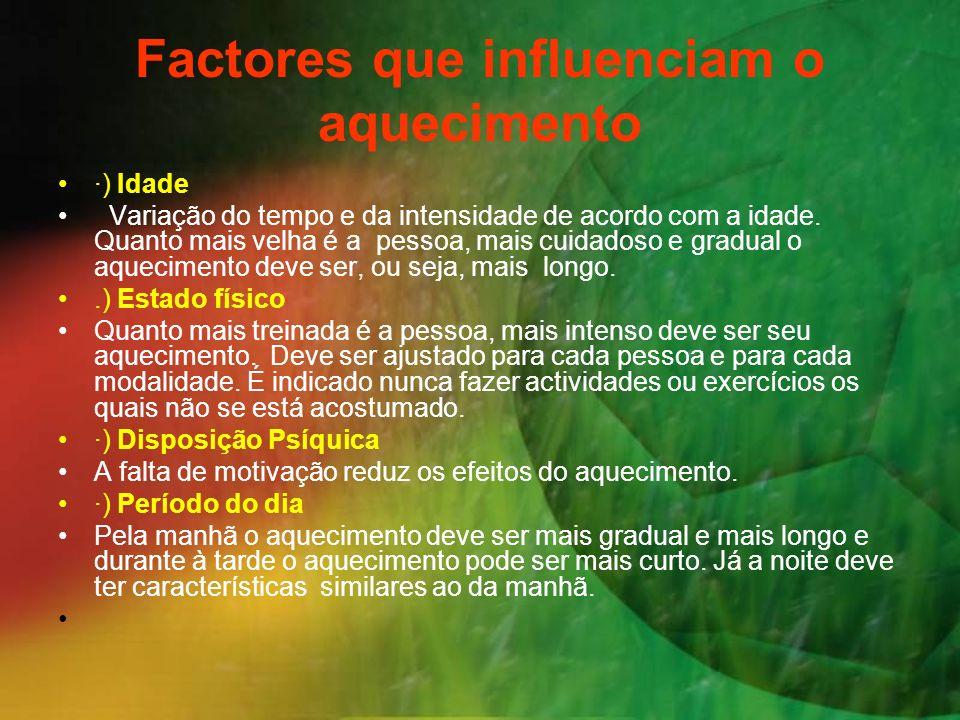 Factores que influenciam o aquecimento