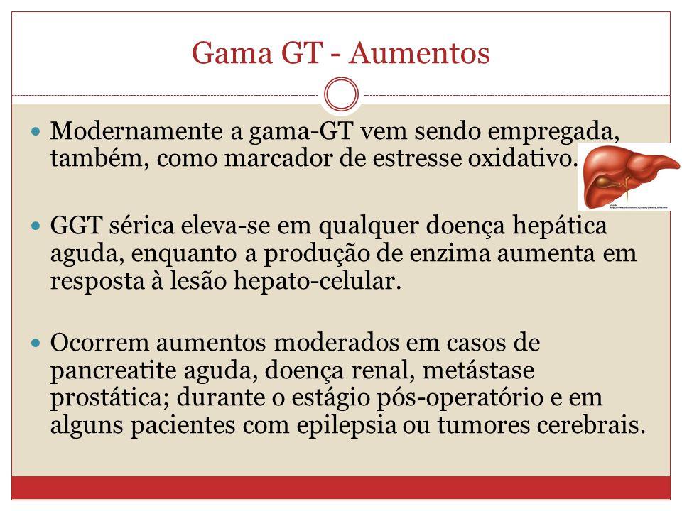 Gama GT - Aumentos Modernamente a gama-GT vem sendo empregada, também, como marcador de estresse oxidativo.