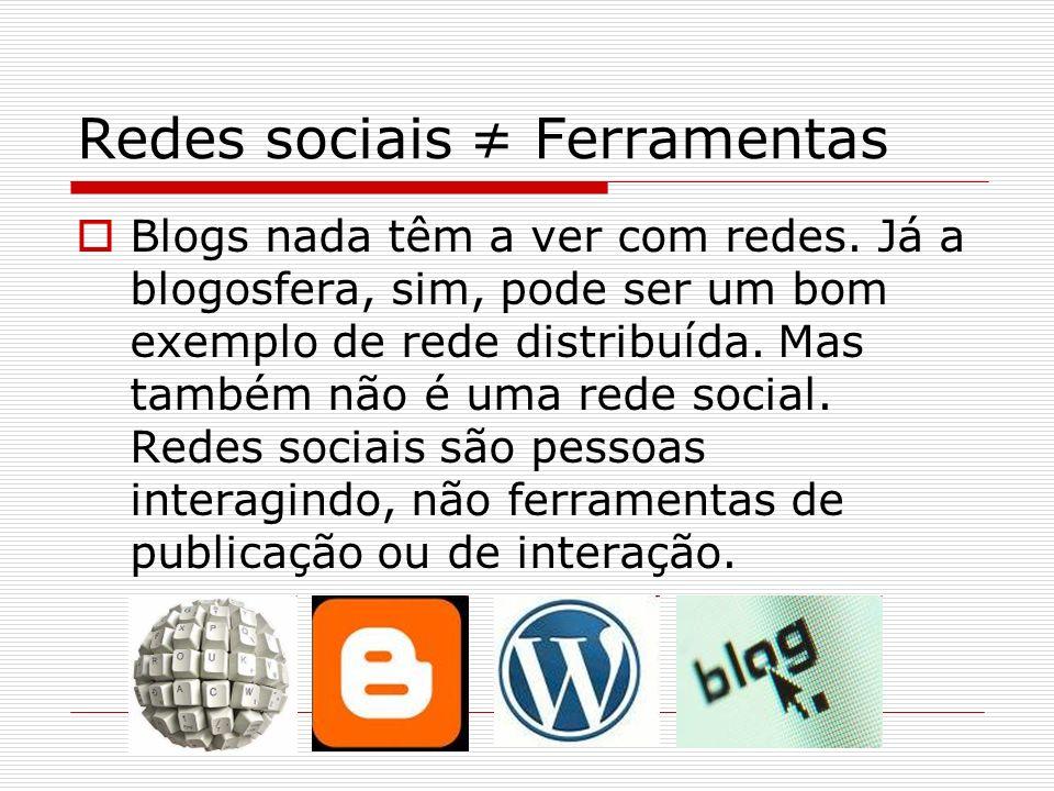 Redes sociais ≠ Ferramentas
