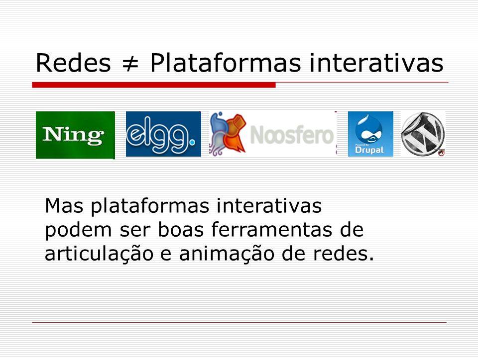 Redes ≠ Plataformas interativas