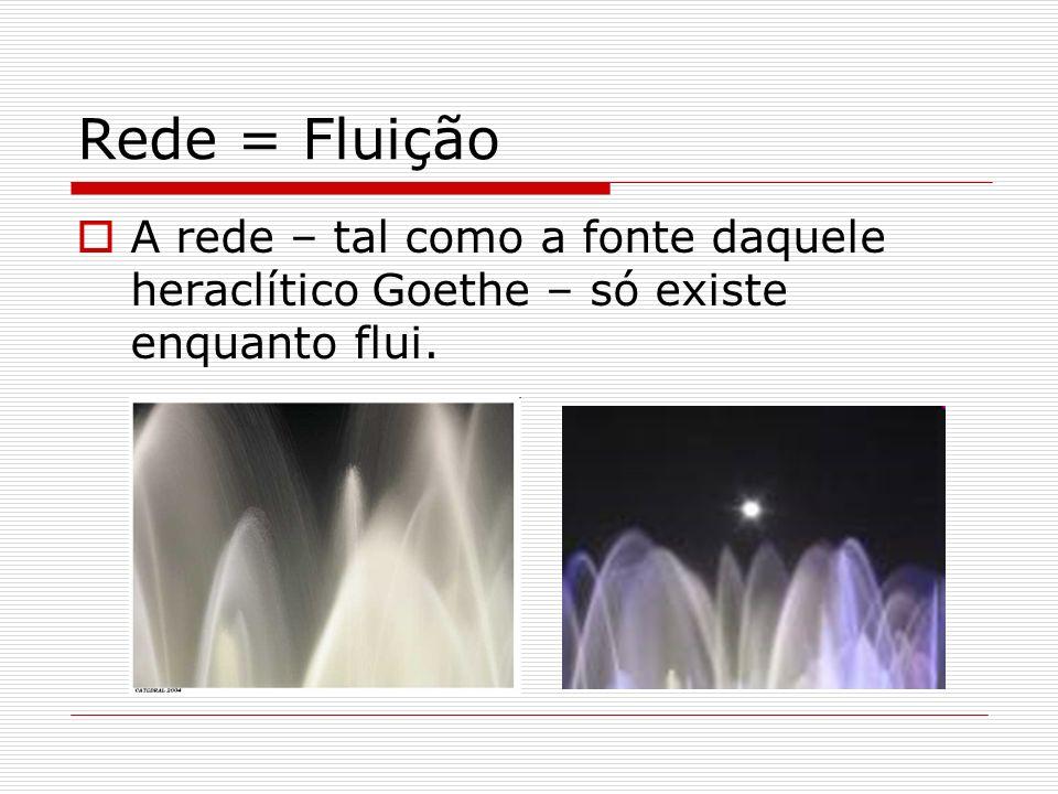 Rede = Fluição A rede – tal como a fonte daquele heraclítico Goethe – só existe enquanto flui.