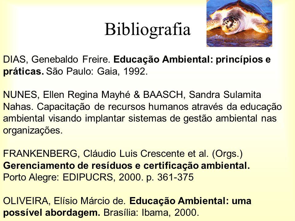 Bibliografia DIAS, Genebaldo Freire. Educação Ambiental: princípios e práticas. São Paulo: Gaia, 1992.