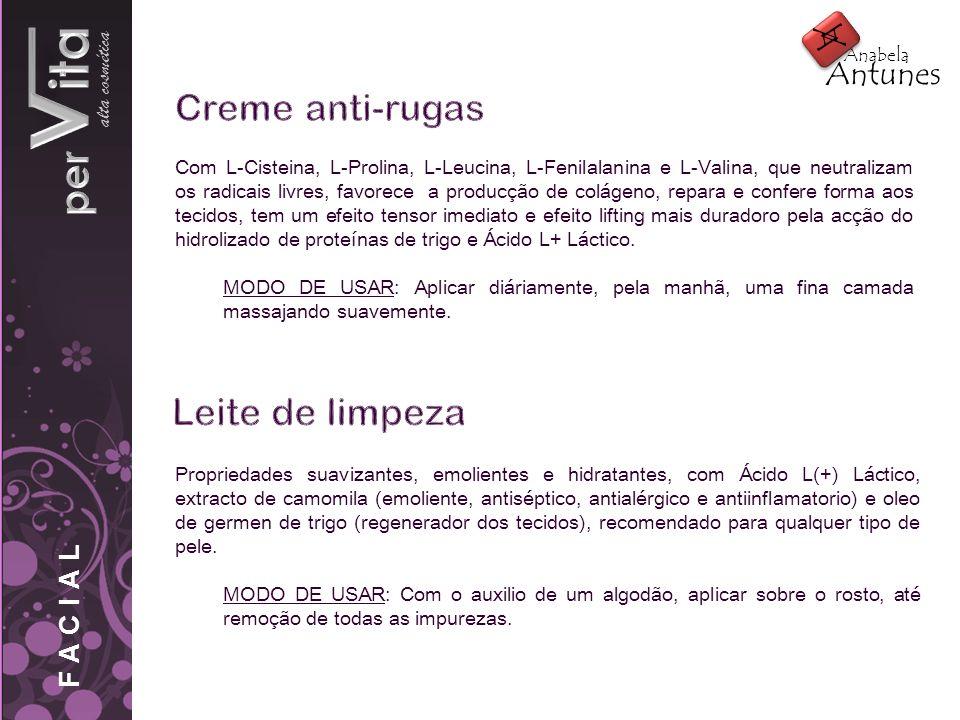 pervita Creme anti-rugas Leite de limpeza alta cosmética A Antunes