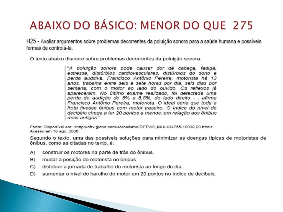 ABAIXO DO BÁSICO: MENOR DO QUE 275
