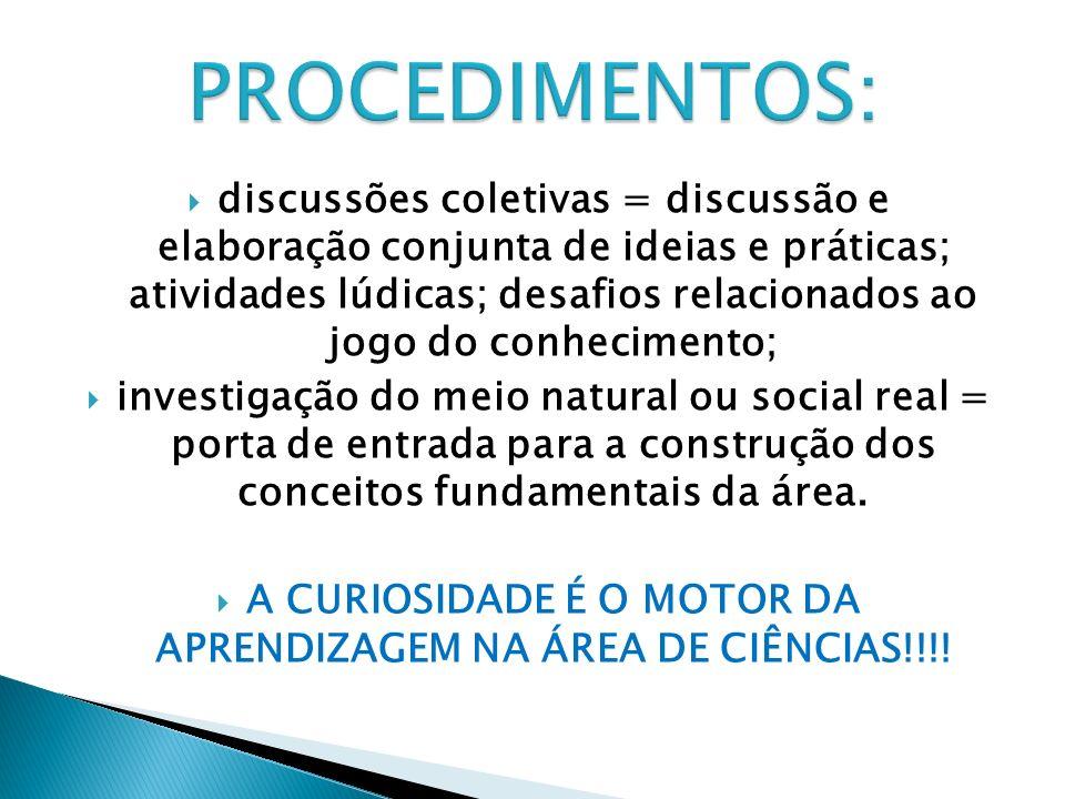 A CURIOSIDADE É O MOTOR DA APRENDIZAGEM NA ÁREA DE CIÊNCIAS!!!!