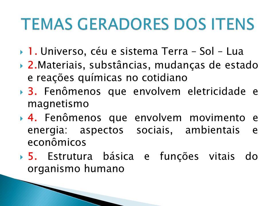 TEMAS GERADORES DOS ITENS