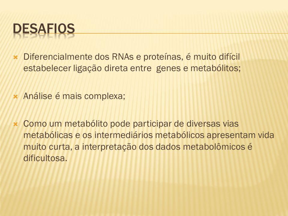 Desafios Diferencialmente dos RNAs e proteínas, é muito difícil estabelecer ligação direta entre genes e metabólitos;
