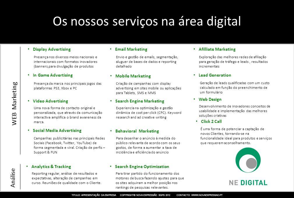 Os nossos serviços na área digital