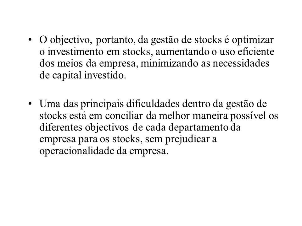 O objectivo, portanto, da gestão de stocks é optimizar o investimento em stocks, aumentando o uso eficiente dos meios da empresa, minimizando as necessidades de capital investido.