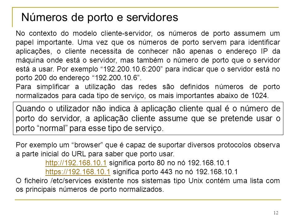 Números de porto e servidores