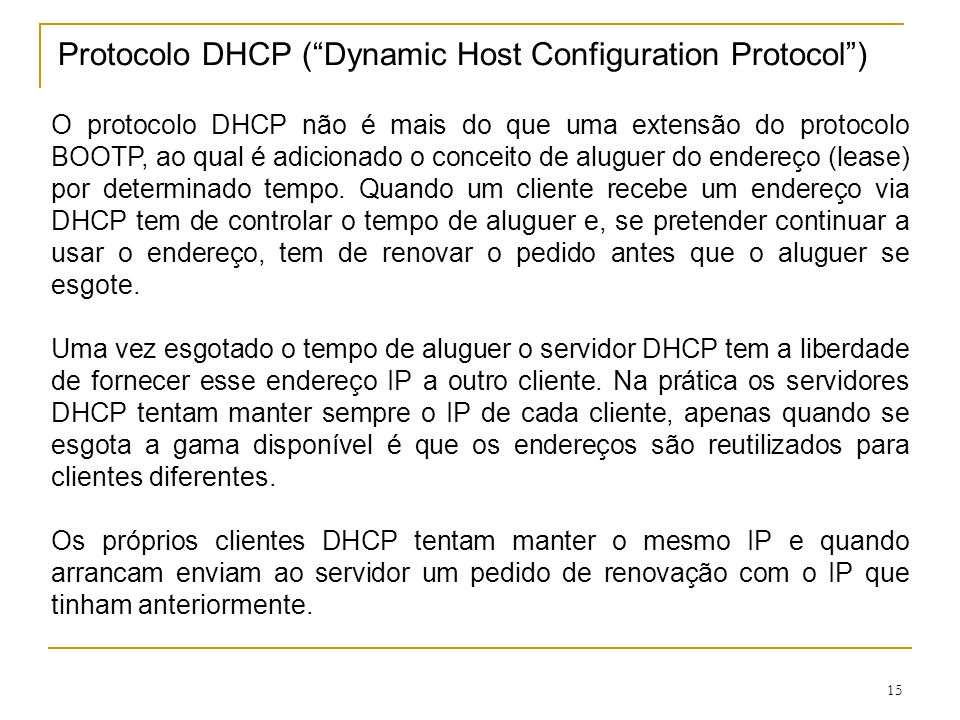 Protocolo DHCP ( Dynamic Host Configuration Protocol )