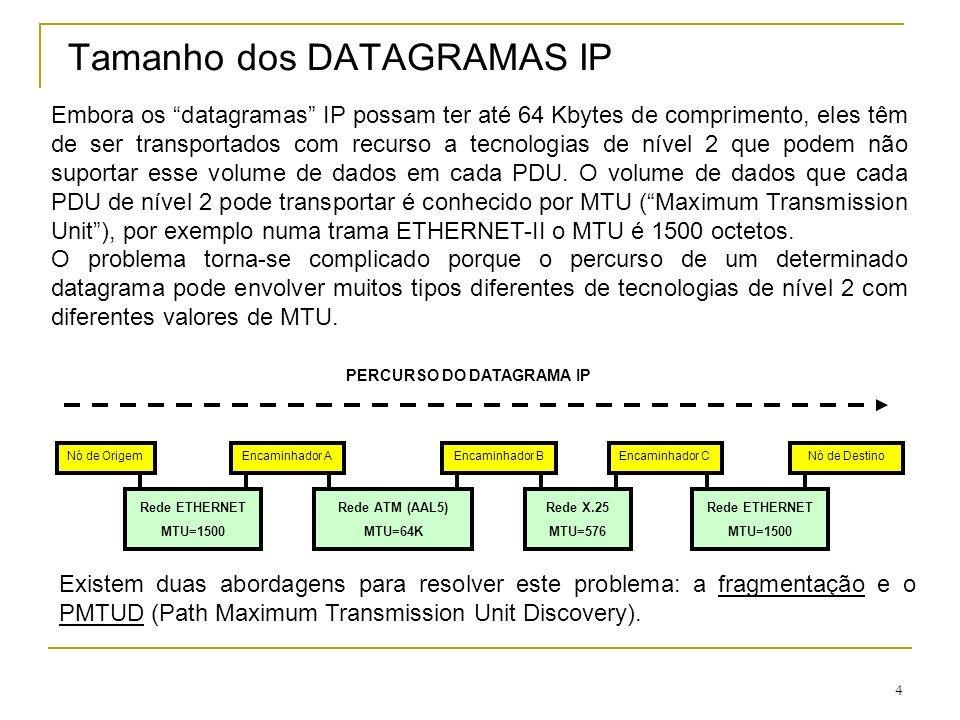 Tamanho dos DATAGRAMAS IP