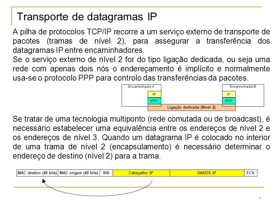 Transporte de datagramas IP