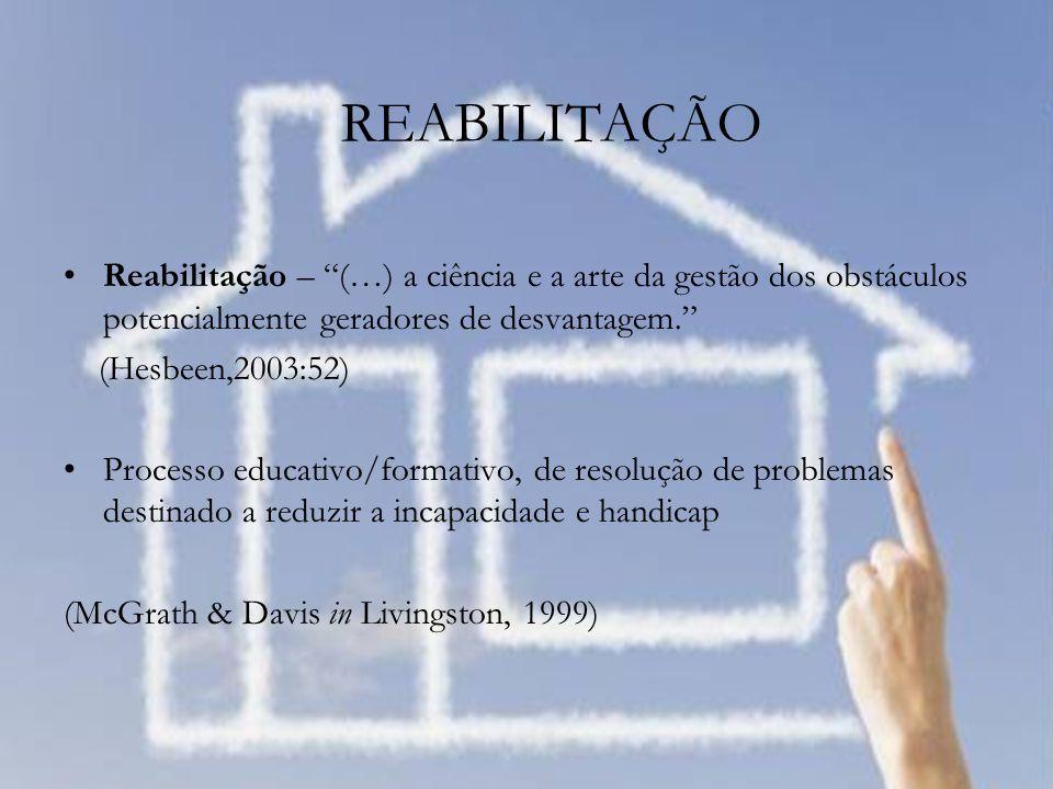 REABILITAÇÃO Reabilitação – (…) a ciência e a arte da gestão dos obstáculos potencialmente geradores de desvantagem.