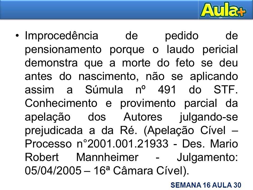 Improcedência de pedido de pensionamento porque o laudo pericial demonstra que a morte do feto se deu antes do nascimento, não se aplicando assim a Súmula nº 491 do STF.