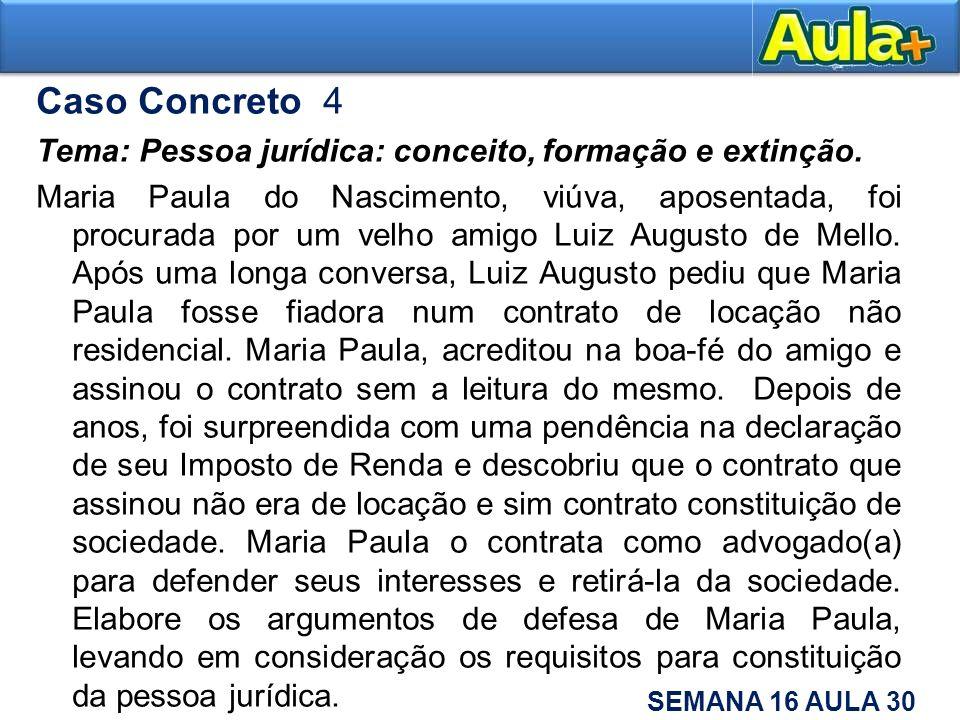 Caso Concreto 4 Tema: Pessoa jurídica: conceito, formação e extinção.