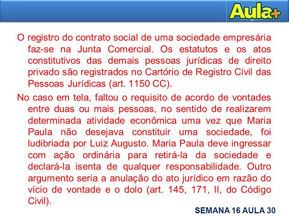 O registro do contrato social de uma sociedade empresária faz-se na Junta Comercial.