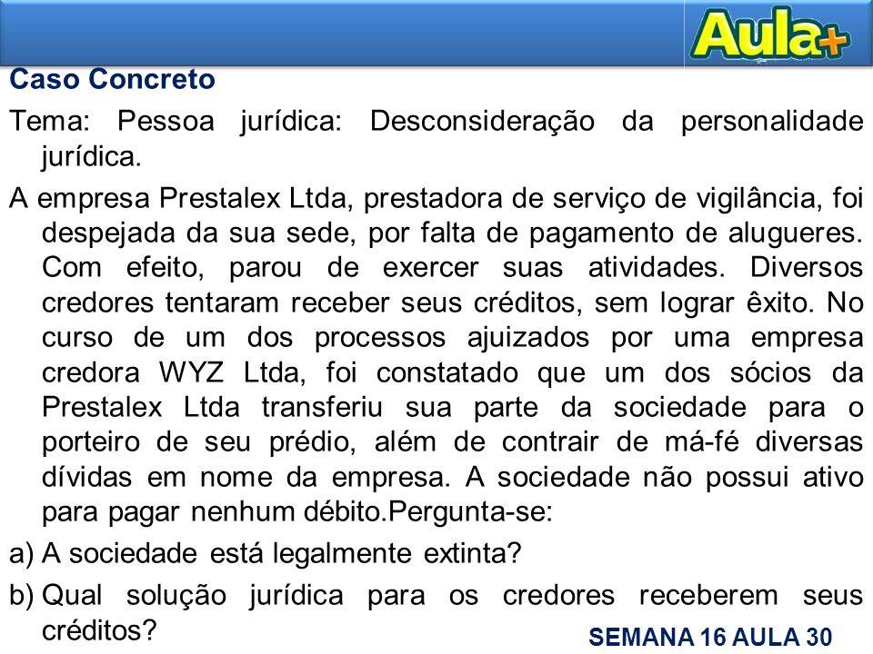 Caso Concreto Tema: Pessoa jurídica: Desconsideração da personalidade jurídica.