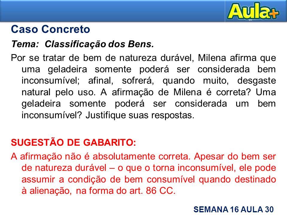 Caso Concreto Tema: Classificação dos Bens.