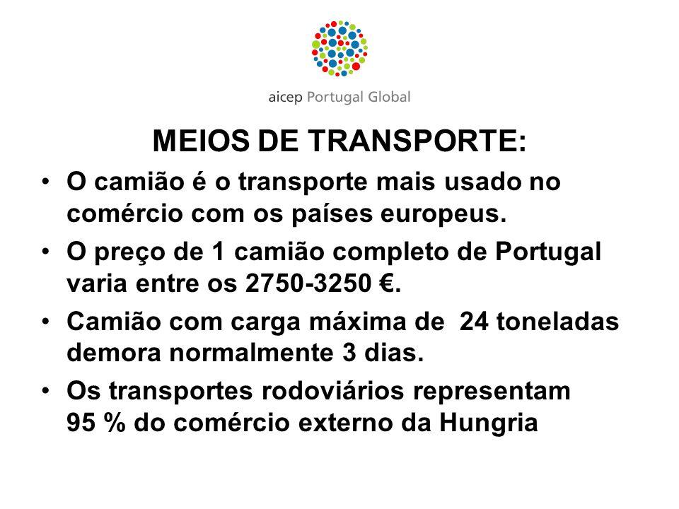 MEIOS DE TRANSPORTE: O camião é o transporte mais usado no comércio com os países europeus.