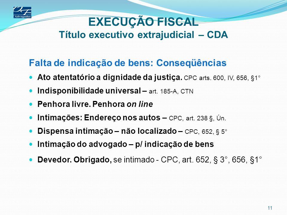 EXECUÇÃO FISCAL Título executivo extrajudicial – CDA