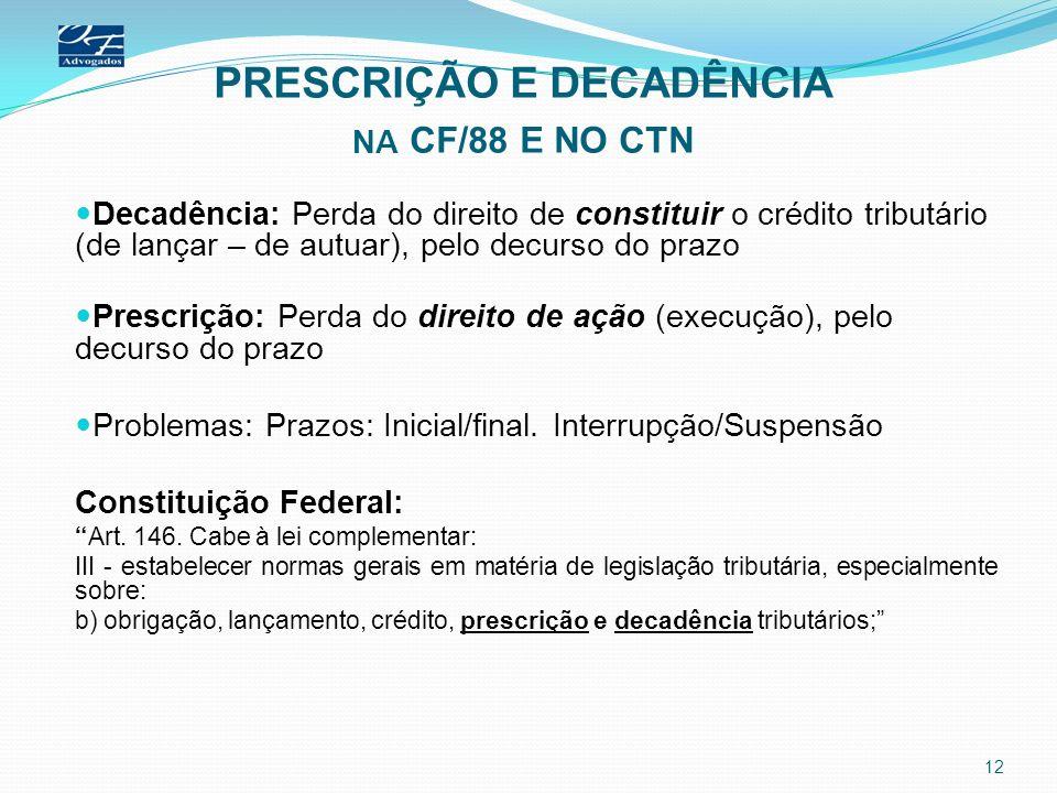 PRESCRIÇÃO E DECADÊNCIA NA CF/88 E NO CTN