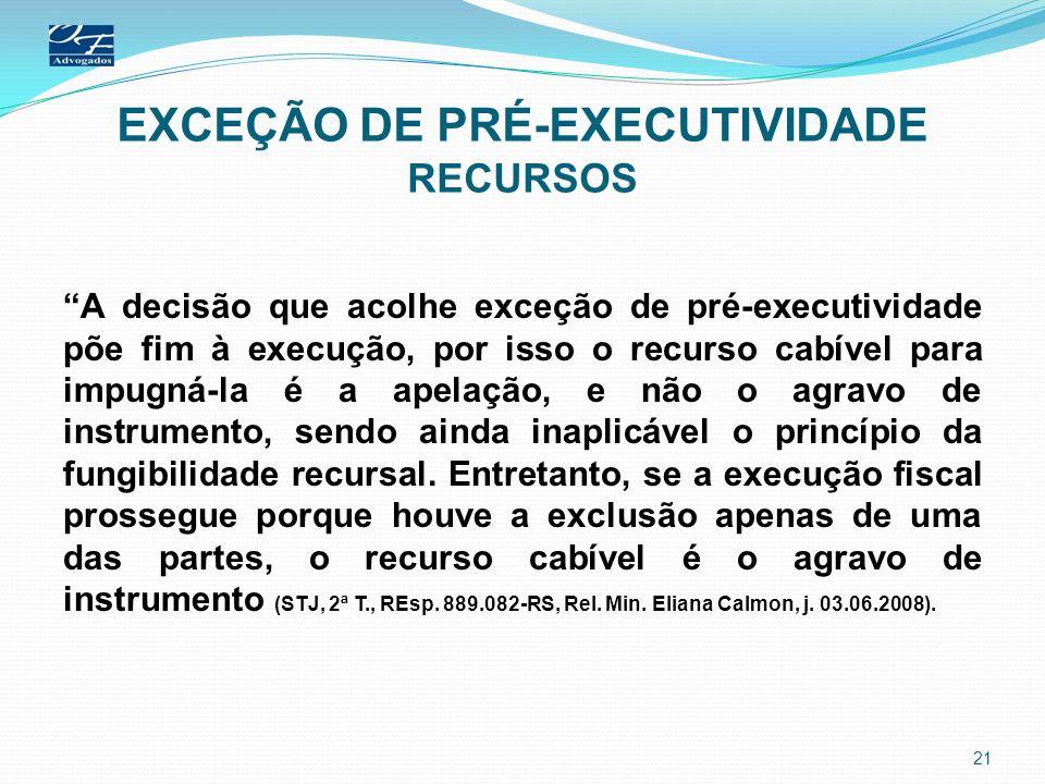 EXCEÇÃO DE PRÉ-EXECUTIVIDADE RECURSOS