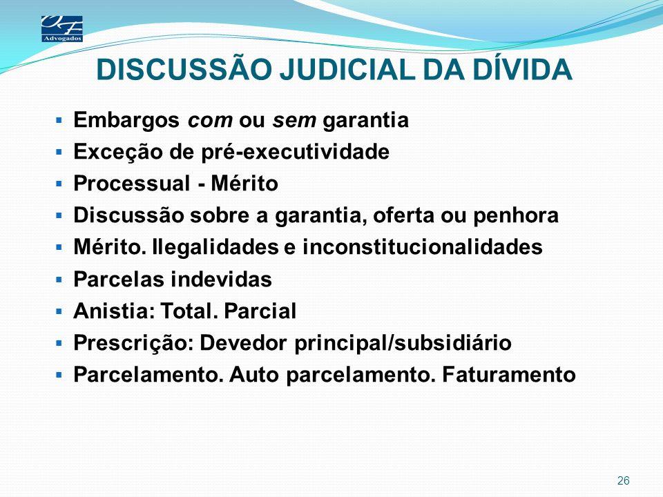 DISCUSSÃO JUDICIAL DA DÍVIDA