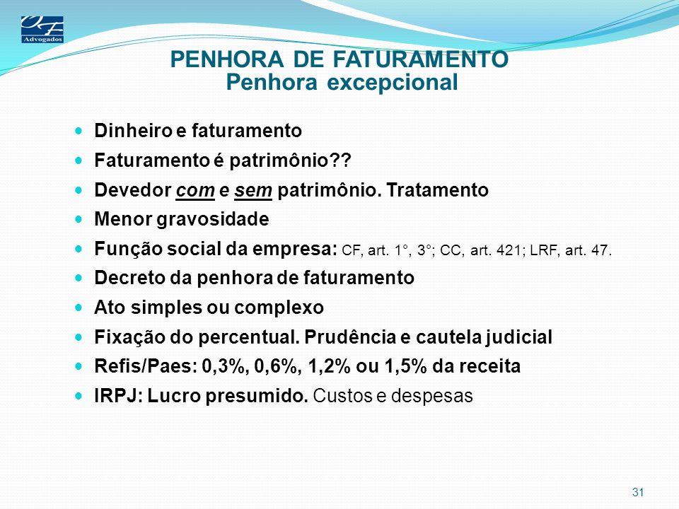 PENHORA DE FATURAMENTO Penhora excepcional