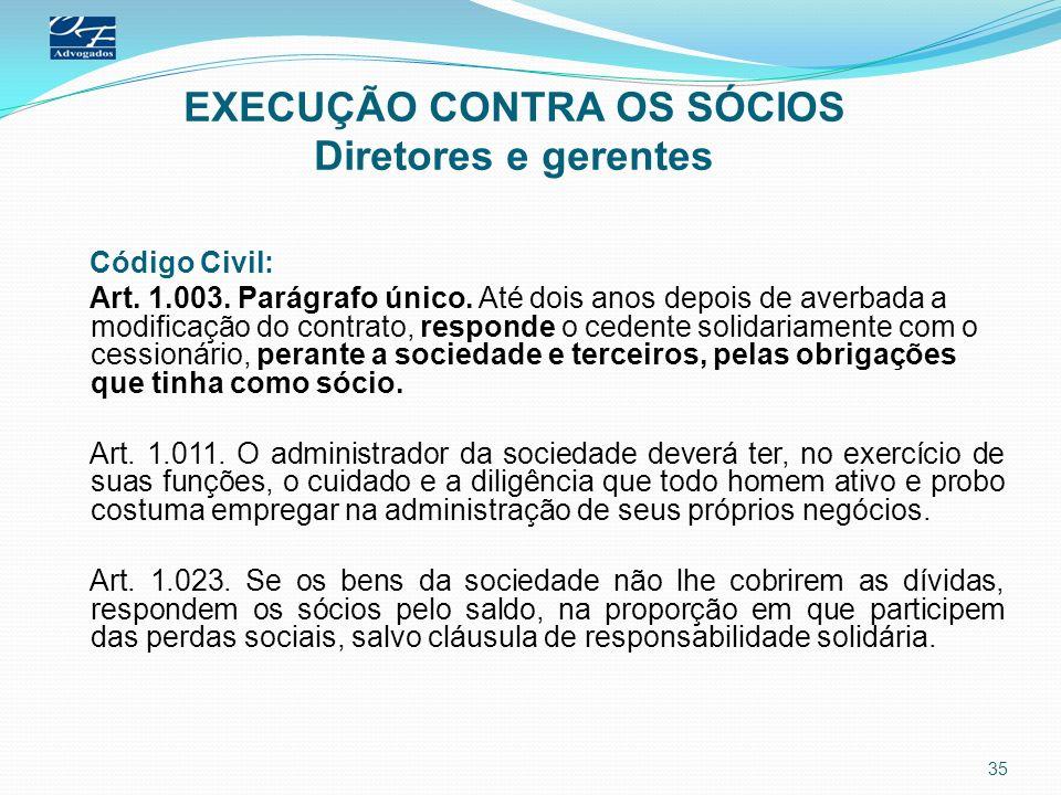 EXECUÇÃO CONTRA OS SÓCIOS Diretores e gerentes