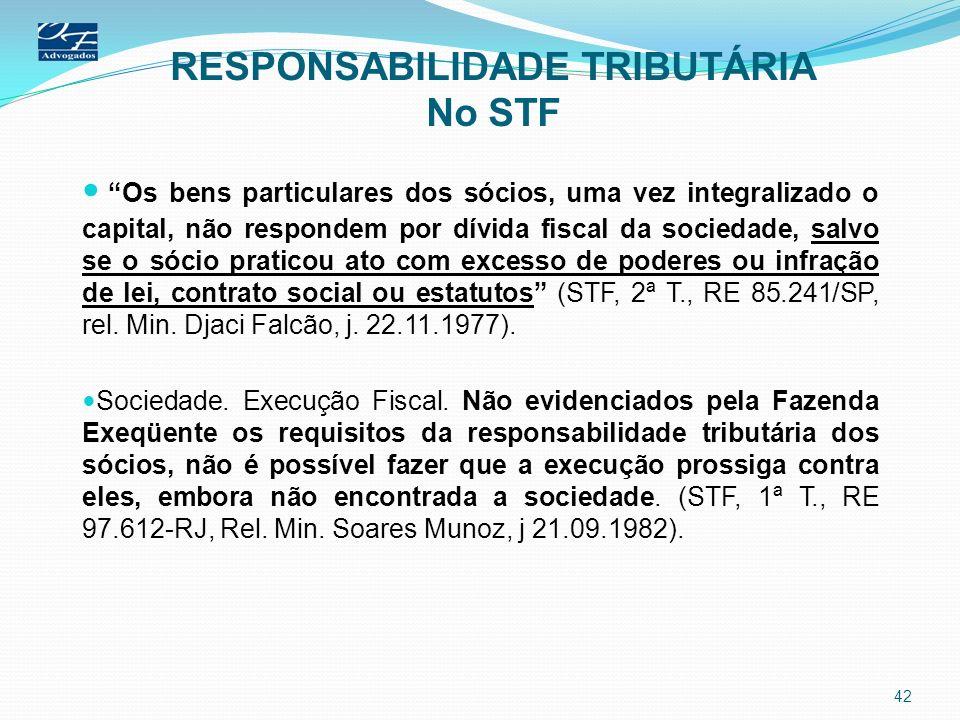 RESPONSABILIDADE TRIBUTÁRIA No STF