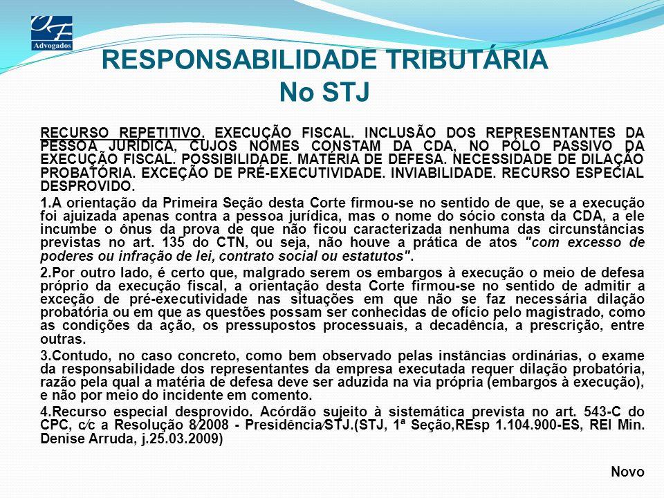 RESPONSABILIDADE TRIBUTÁRIA No STJ