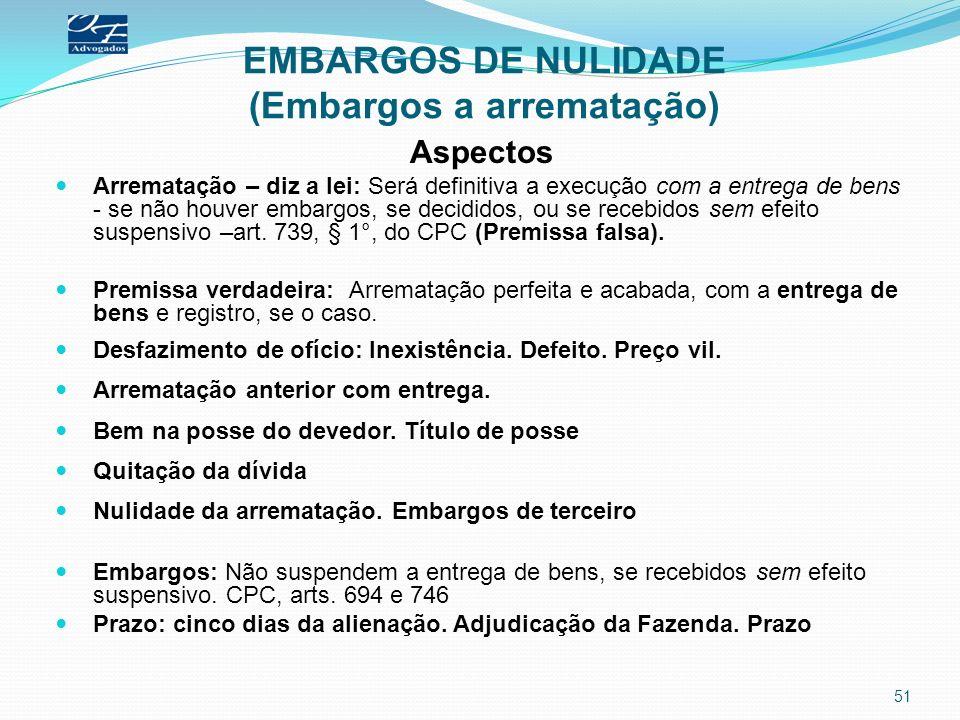 EMBARGOS DE NULIDADE (Embargos a arrematação)