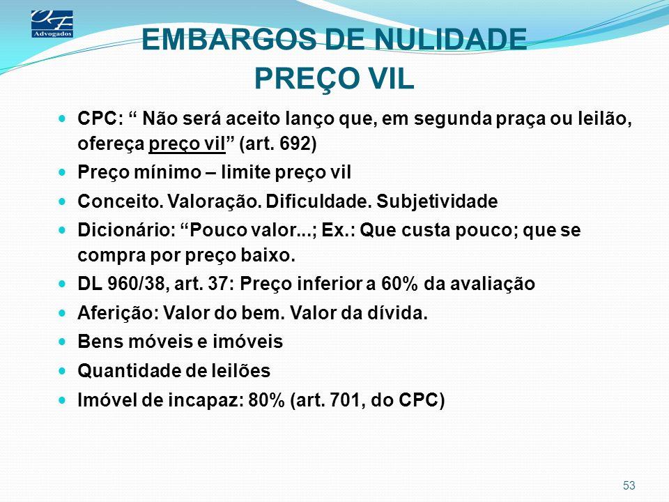 EMBARGOS DE NULIDADE PREÇO VIL